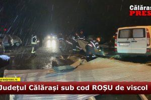 VIDEO. Mașini avariate, copaci doborâți și acoperișuri luate pe sus de vânt, în Călărași